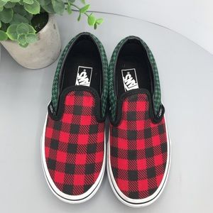 Vans Buffalo multi plaid red green blue slip on skateboarding shoes US kids 1